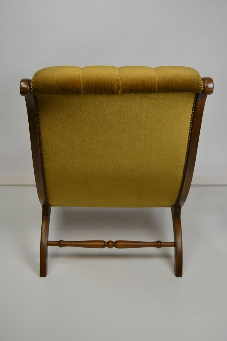 Easy Chair, Wood and Velvet, Yellow, Green, Mustard, 1950s For Sale 7