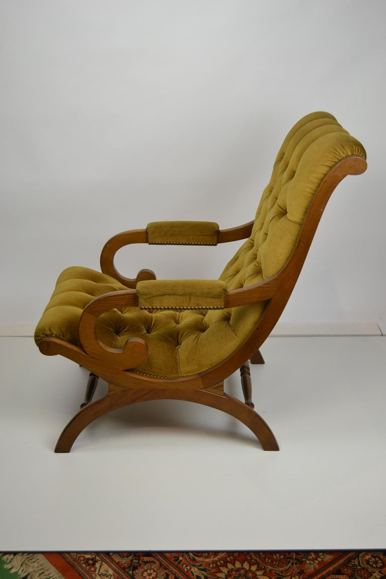 Easy Chair, Wood and Velvet, Yellow, Green, Mustard, 1950s For Sale 8