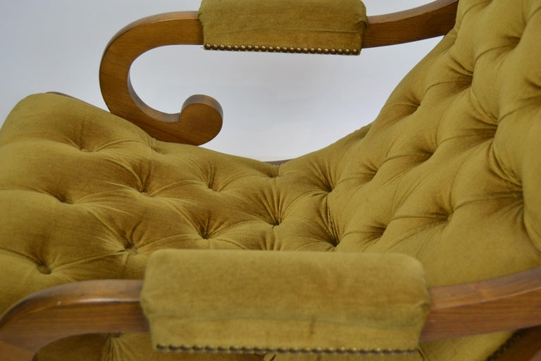 Easy Chair, Wood and Velvet, Yellow, Green, Mustard, 1950s For Sale 9