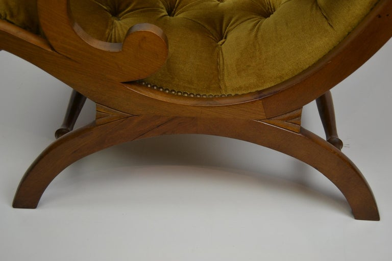 Easy Chair, Wood and Velvet, Yellow, Green, Mustard, 1950s For Sale 10