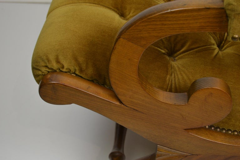 Easy Chair, Wood and Velvet, Yellow, Green, Mustard, 1950s For Sale 11