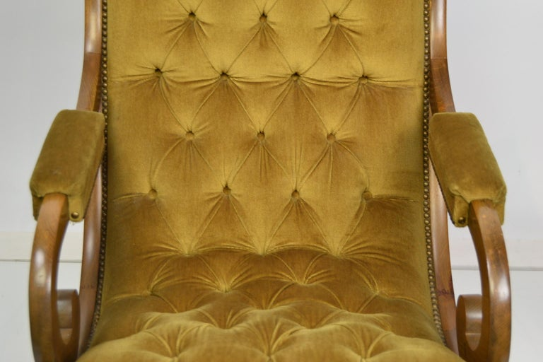 Easy Chair, Wood and Velvet, Yellow, Green, Mustard, 1950s For Sale 12