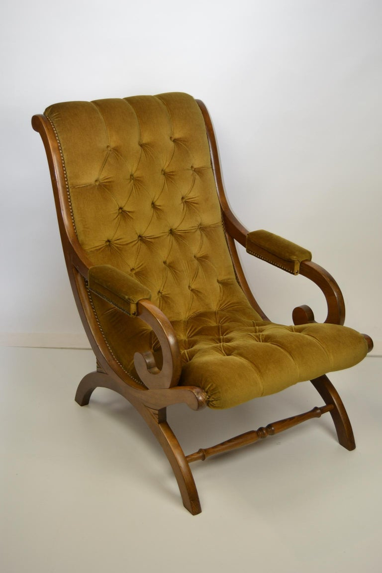 Easy Chair, Wood and Velvet, Yellow, Green, Mustard, 1950s For Sale 13