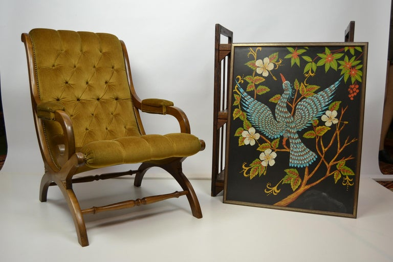 Easy chair, armchair, slipper chair, lounge chair, relax chair, library chair  Made from Wood and Velvet seating with buttons in the 1950s. The seat has a great color : yellow- green - mustard .  This chair is in good used condition.  Tiny