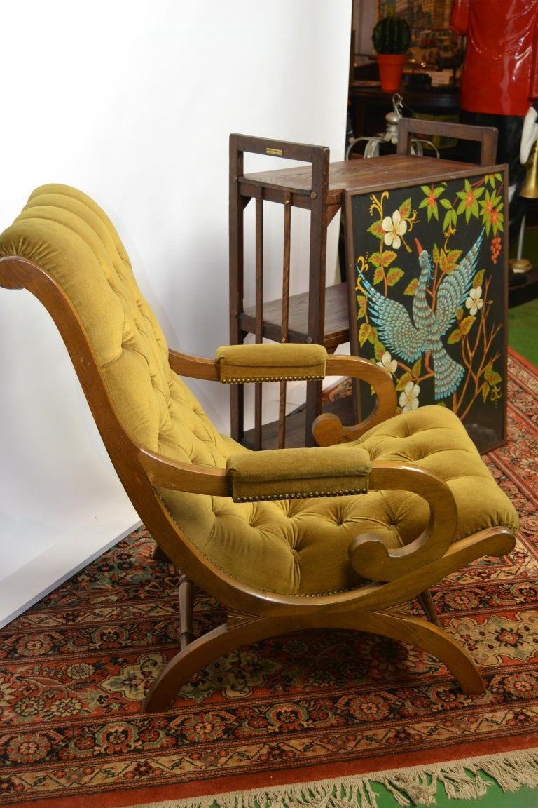 Easy Chair, Wood and Velvet, Yellow, Green, Mustard, 1950s For Sale 14