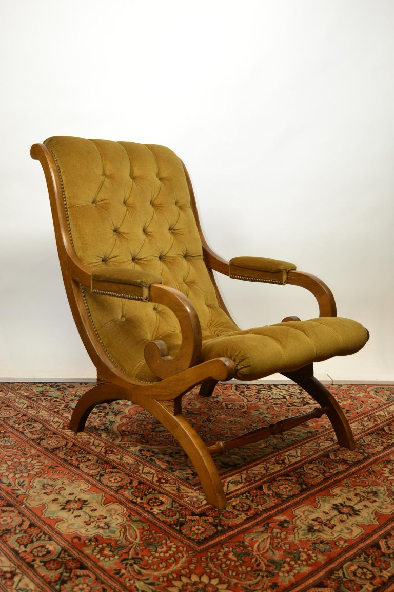 Mid-Century Modern Easy Chair, Wood and Velvet, Yellow, Green, Mustard, 1950s For Sale