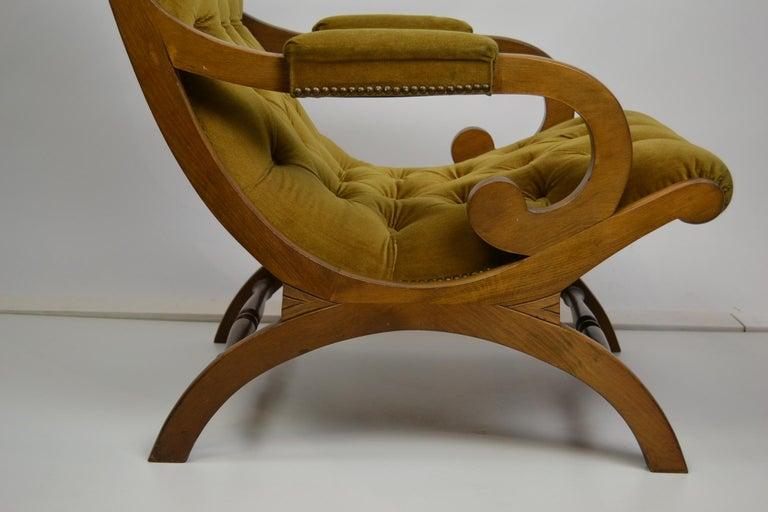 Easy Chair, Wood and Velvet, Yellow, Green, Mustard, 1950s For Sale 1