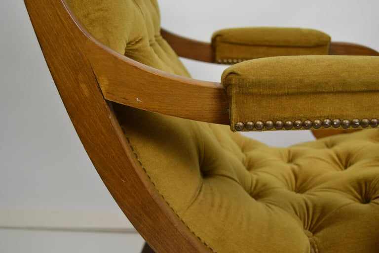 Easy Chair, Wood and Velvet, Yellow, Green, Mustard, 1950s For Sale 2