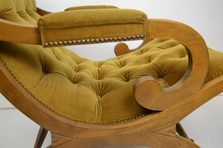 Easy Chair, Wood and Velvet, Yellow, Green, Mustard, 1950s For Sale 3