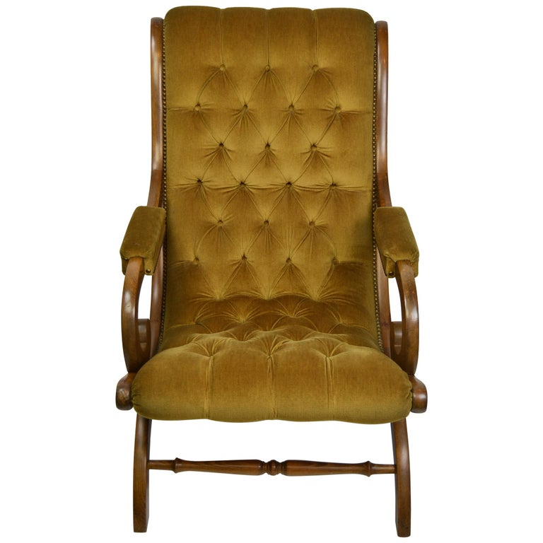 Easy Chair, Wood and Velvet, Yellow, Green, Mustard, 1950s For Sale