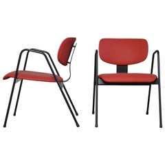 Willy van der Meeren F1 Easy Chairs in red for Tubax, Belgium
