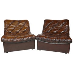 Brown Leather Easy Chairs