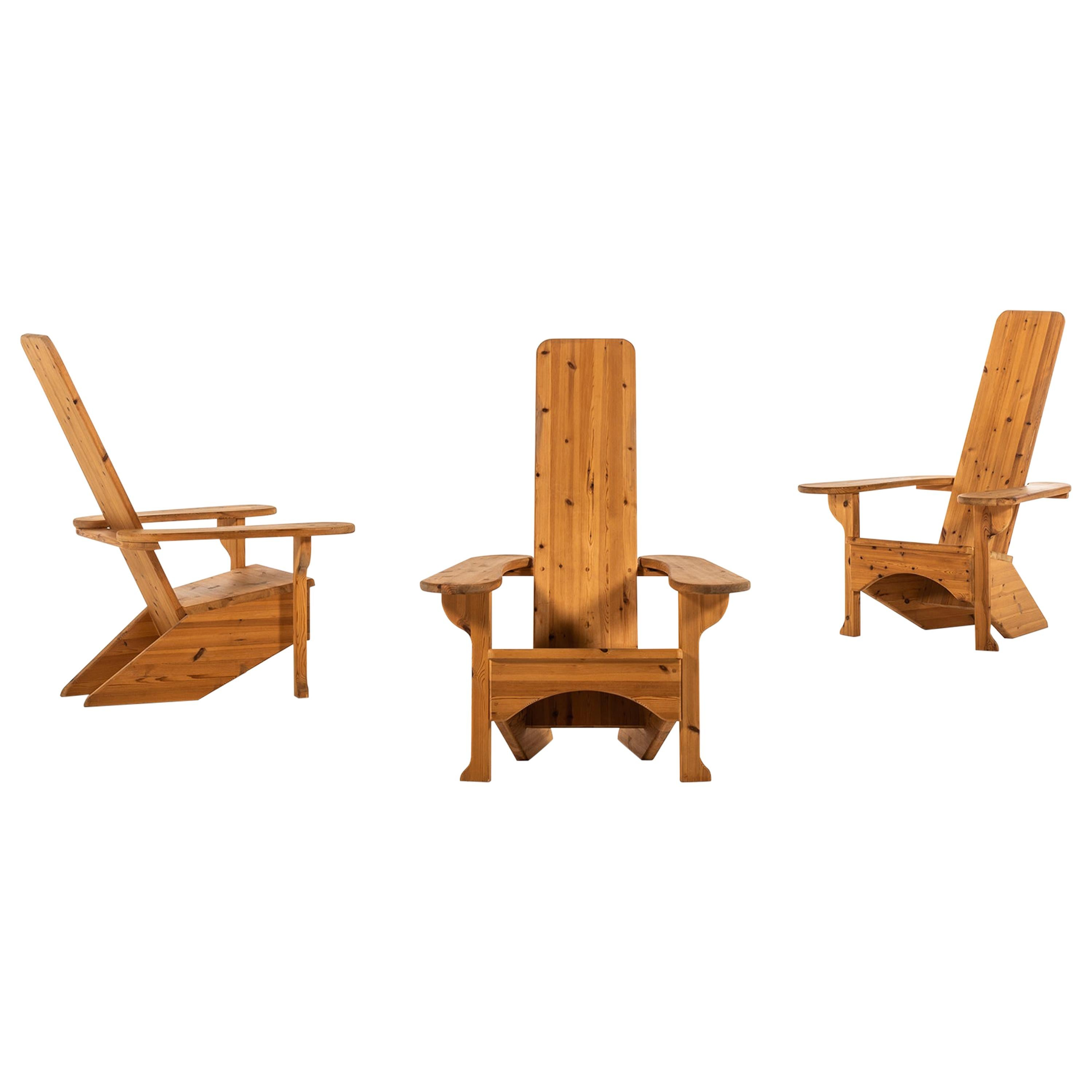 Easy Chairs in Solid Pine in the Style of Mario Ceroli