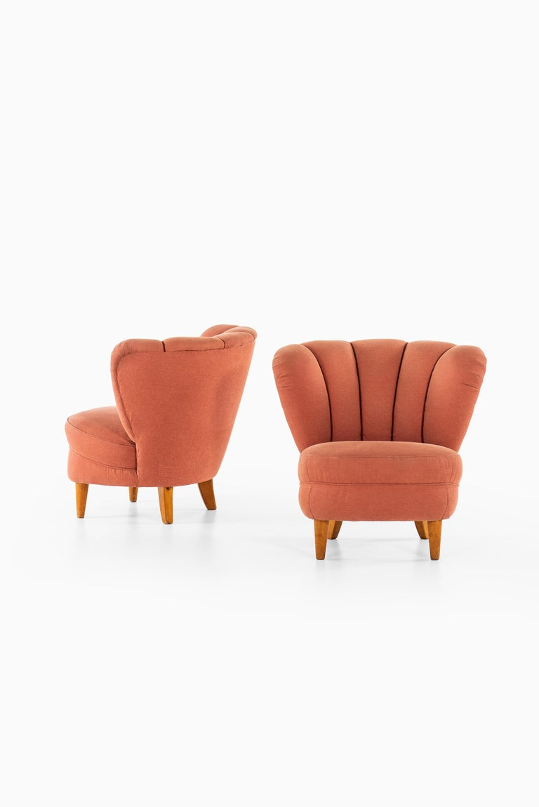 Mid-20th Century Easy Chairs in the Manner of Otto Schulz Produced in Sweden For Sale