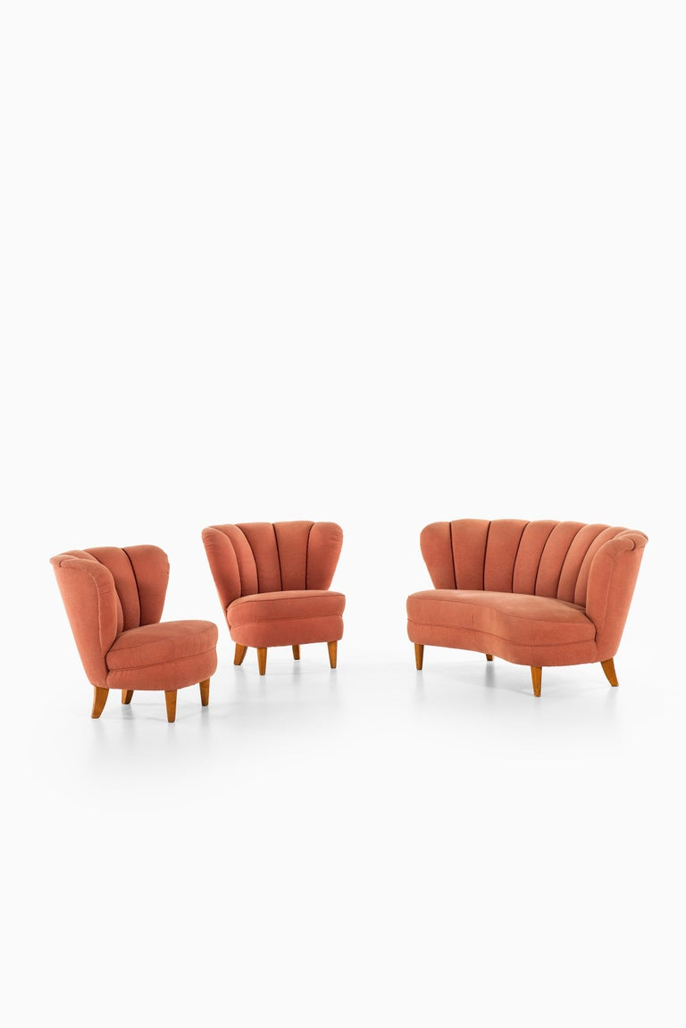 Fabric Easy Chairs in the Manner of Otto Schulz Produced in Sweden For Sale