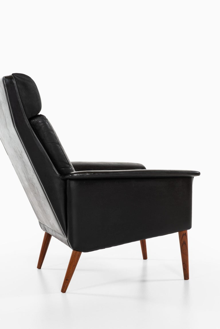 Leather Easy Chairs Produced in Denmark For Sale