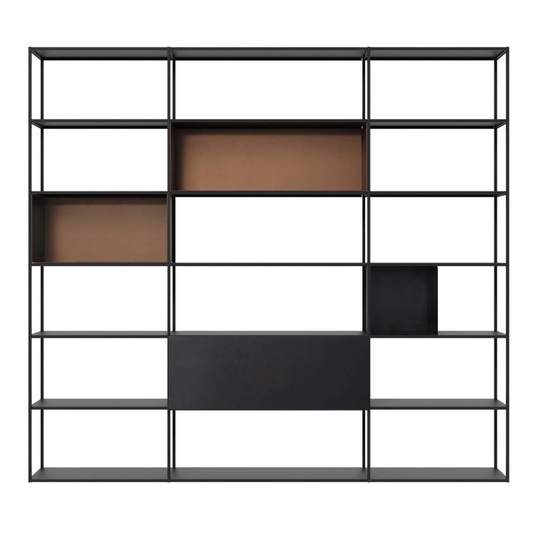 Easy Irony Bookshelf with Boxes In New Condition For Sale In Milan, IT