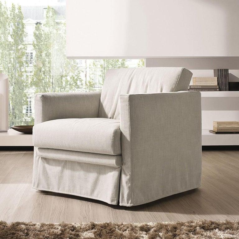 Italian Easy Ivory Armchair For Sale