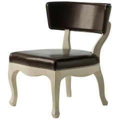 Easy Low Armchair in Dark Brown Leather