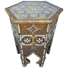 Easy Moroccan Camel Bone Side Table Resin and Metal Inlay