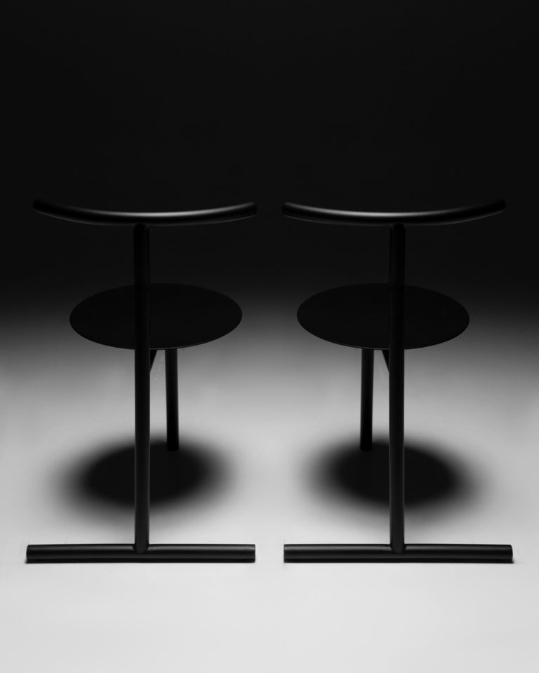 Steel EATER, modern steel black dining Chair 'without Cushion' by oitoproducts For Sale