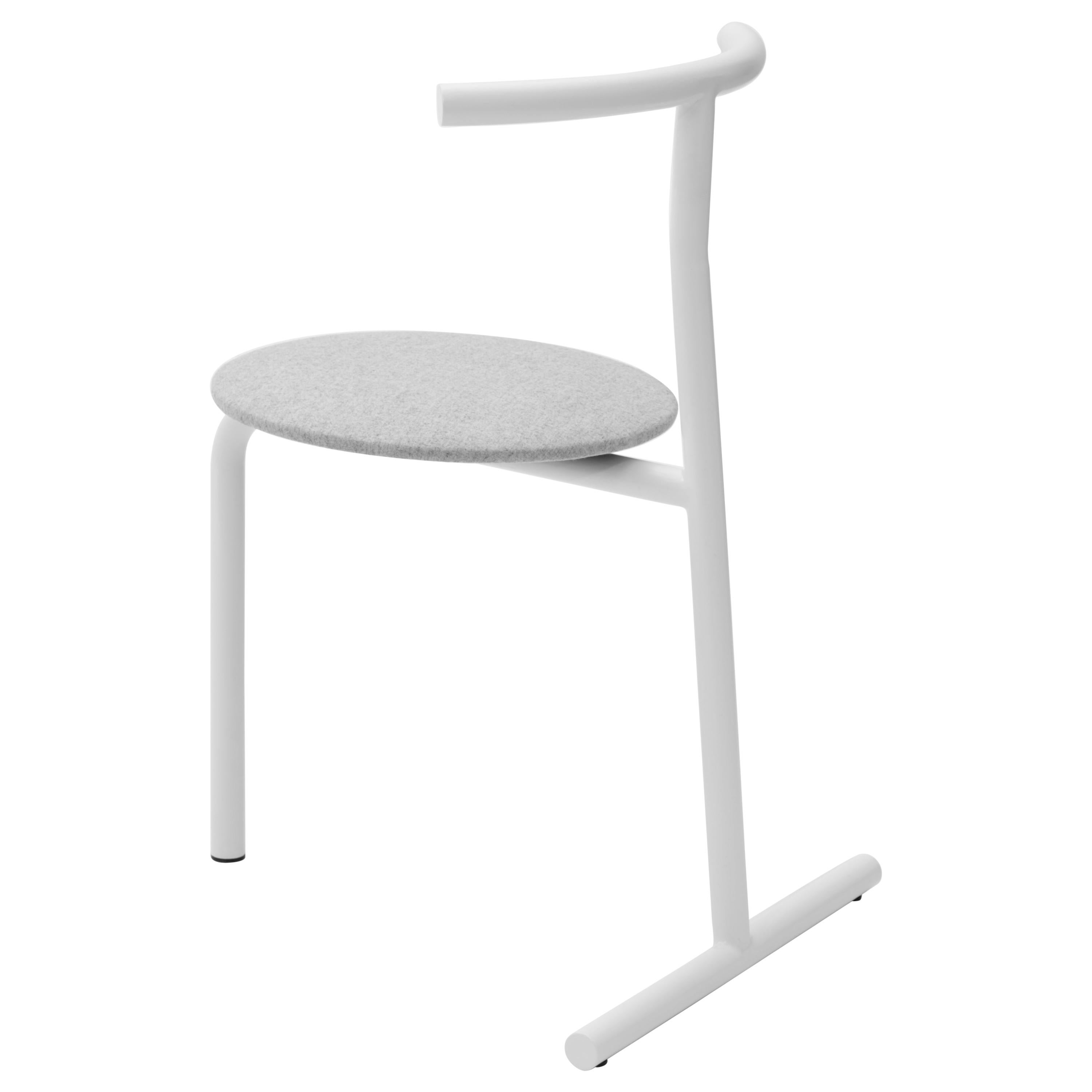 EATER, modern steel white dining Chair 'with Cushion' by oitoproducts