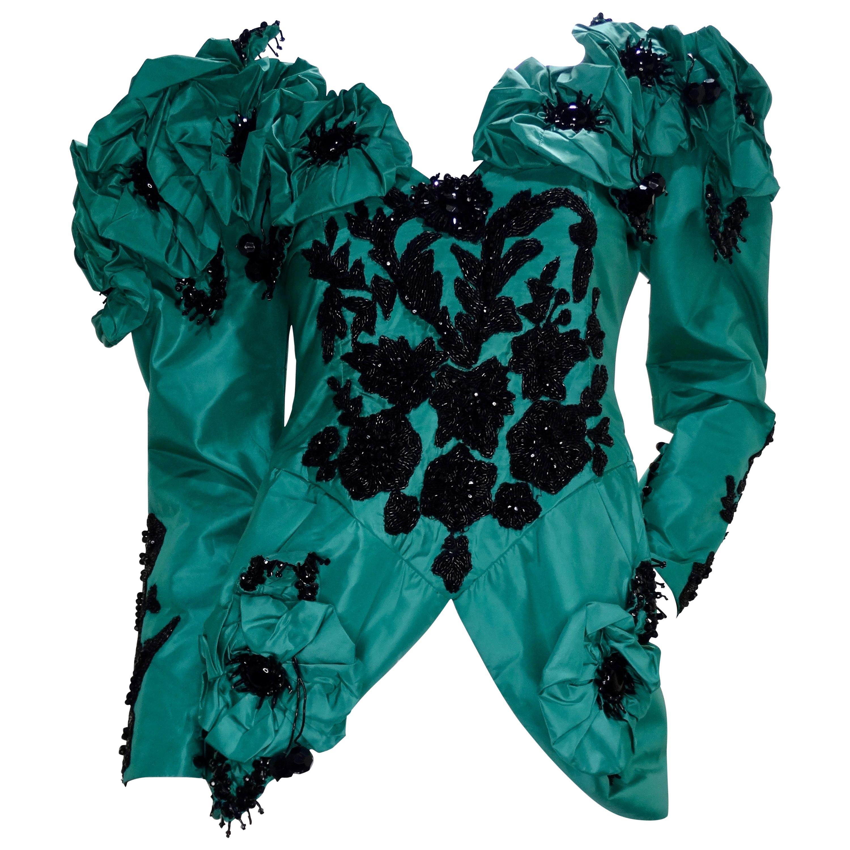 Eavis & Brown Embellished Green Silk Victorian Blouse