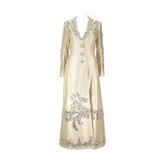 Eavis & Brown London Cream Duchess Silk Evening Coat with Floral Beading