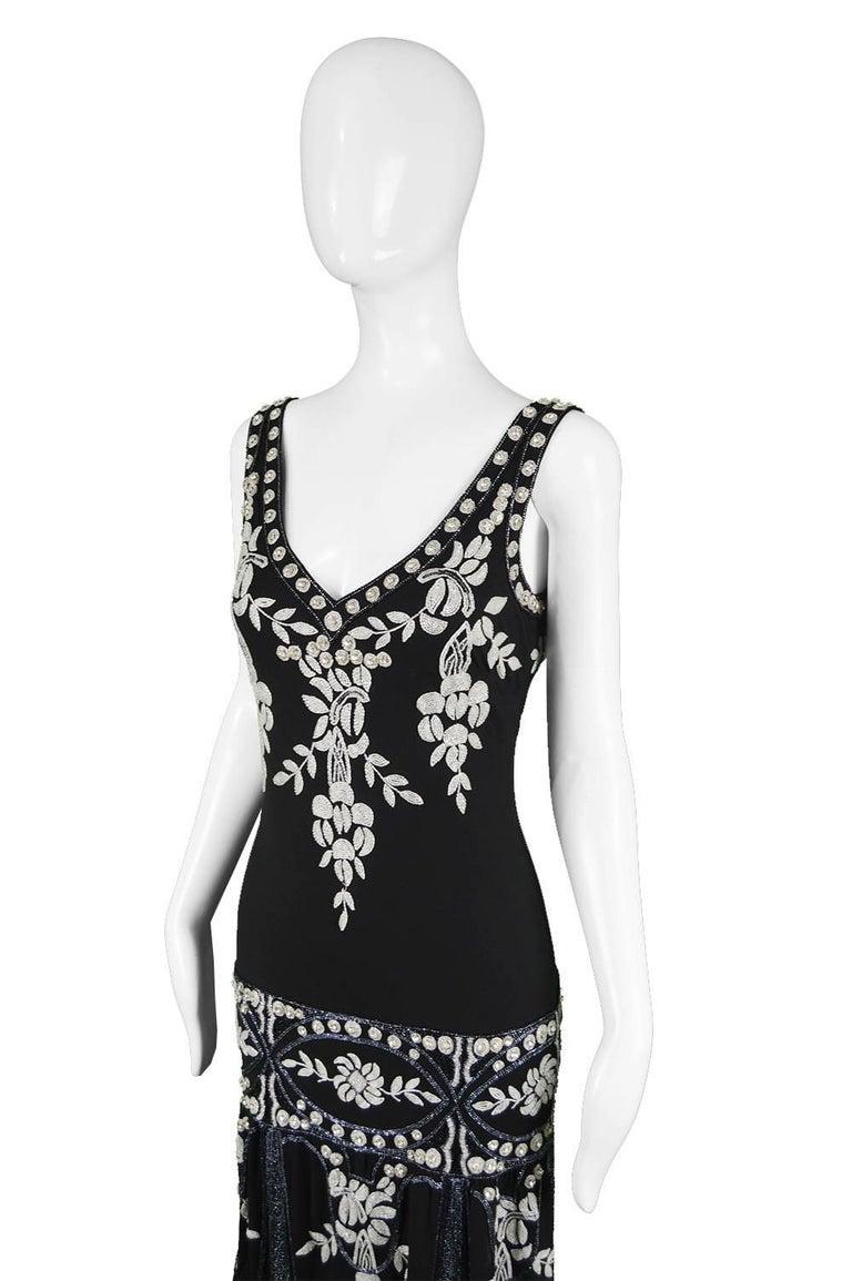 Black Eavis & Brown Vintage 1920s Art Deco Style Hand Beaded Silk Party Dress, 1980s For Sale
