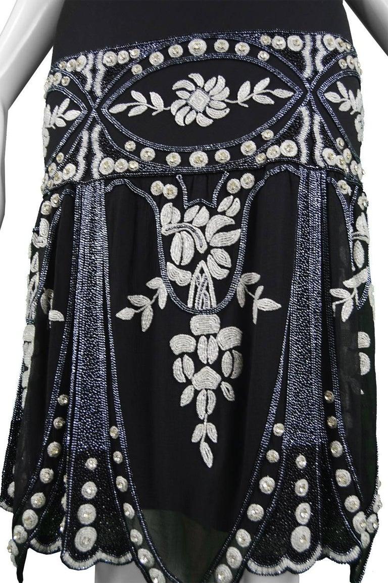 Women's Eavis & Brown Vintage 1920s Art Deco Style Hand Beaded Silk Party Dress, 1980s For Sale