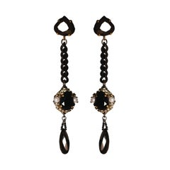 EB Black Stone Chain Dangle Earrings