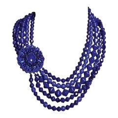 EB Blue Mid-Century German Glass Brooch Cabochon Necklace
