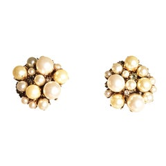 EB Button Multi-Pearl Earrings