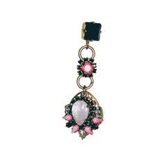 EB Flower Motif Crystal Stone Earrings