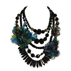 EB In-House Feathered Onyx 5-strand Necklace