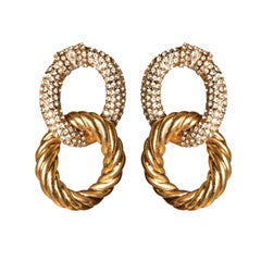 EB Linked Gold and Crystal Earrings