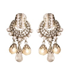 EB Pearl and Crystal Rhinestone Silver Earrings