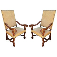 Ebanista Spanish Colonial Carved Walnut Throne Chairs, a Pair