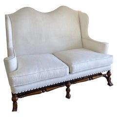 Ebanista William & Mary Walnut Wingback Sofa Settee by Alfonso Marina