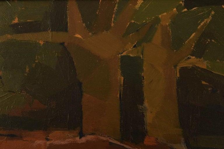 Swedish Ebbe Eberhardson 'B. 1927', Sweden, Oil on Board, Modernist Landscape, 1960s For Sale