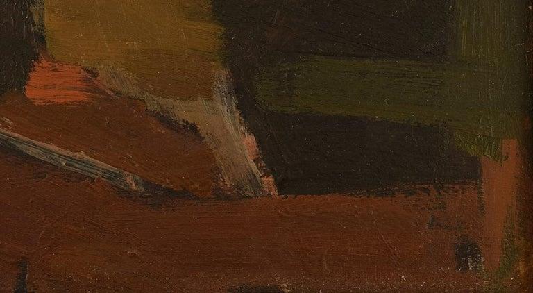 Mid-20th Century Ebbe Eberhardson 'B. 1927', Sweden, Oil on Board, Modernist Landscape, 1960s For Sale