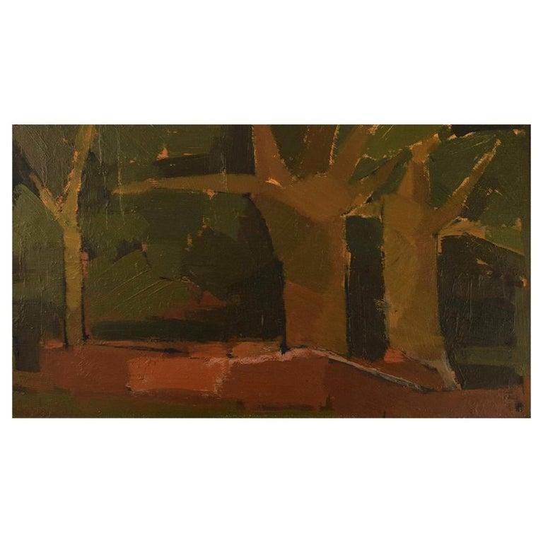 Ebbe Eberhardson 'B. 1927', Sweden, Oil on Board, Modernist Landscape, 1960s For Sale
