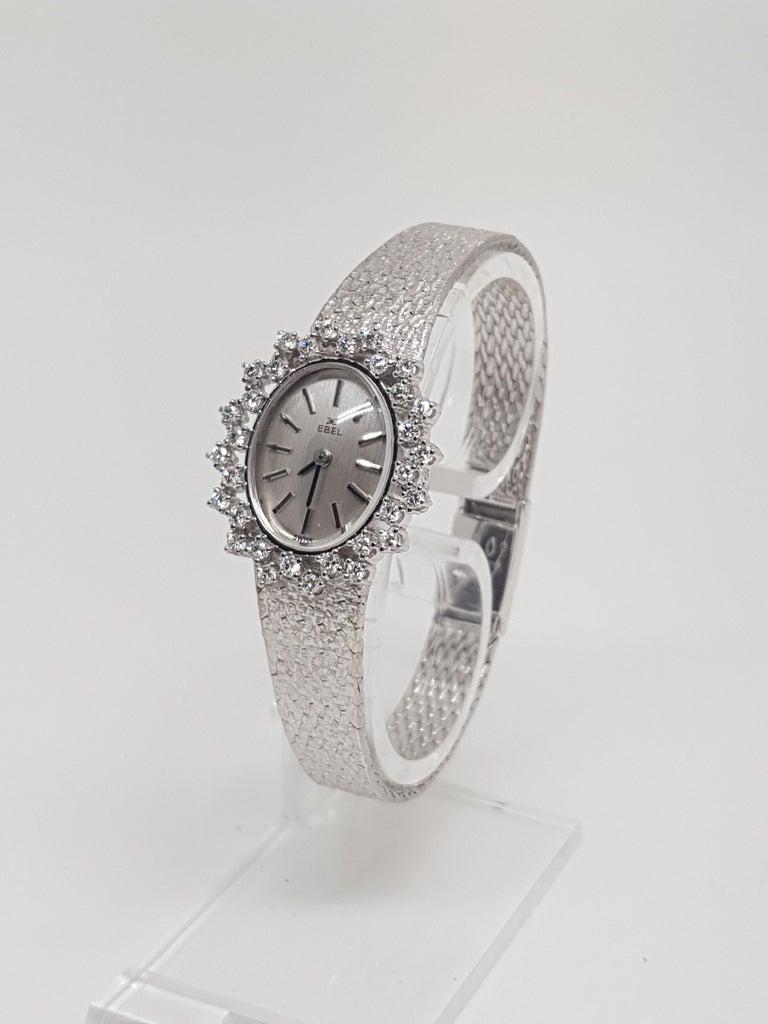 Round Cut Ebel 18 Karat White Gold Diamond Vintage Ladies Watch For Sale