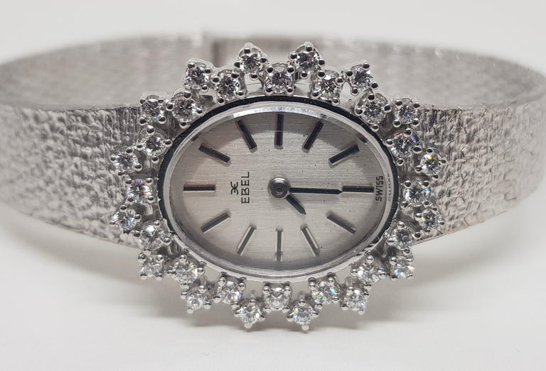 Women's Ebel 18 Karat White Gold Diamond Vintage Ladies Watch For Sale