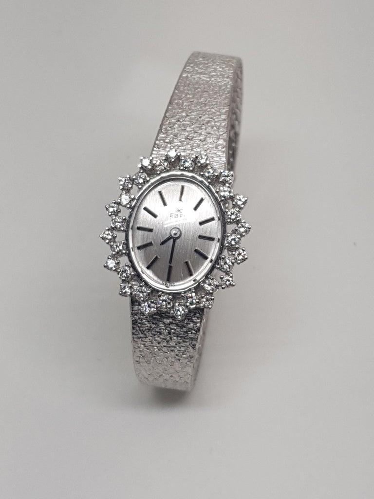 Ebel 18 Karat White Gold Diamond Vintage Ladies Watch For Sale 3