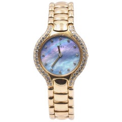 Ebel 18 Karat Yellow Gold Beluga Mother of Pearl Diamond Dial and Bezel Watch