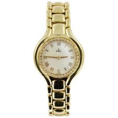 Ebel 18 Karat Yellow Gold Lady's Beluga Wristwatch, Diamonds & Mother of Pearl