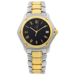 Ebel 1911 Steel 18 Karat Yellow Gold Black Roman Dial Quartz Unisex Watch 187916
