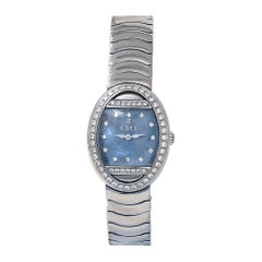 Ebel Beluga 18 Karat White Gold Diamond Bezel Swiss Quartz Ladies Watch E3057B1