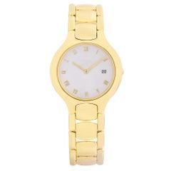 Ebel Beluga 18K Yellow Gold White Enamel Roman Dial Quartz Ladies Watch 884960